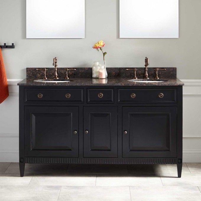 60 Hawkins Mahogany Double Vanity For Undermount Sink Black