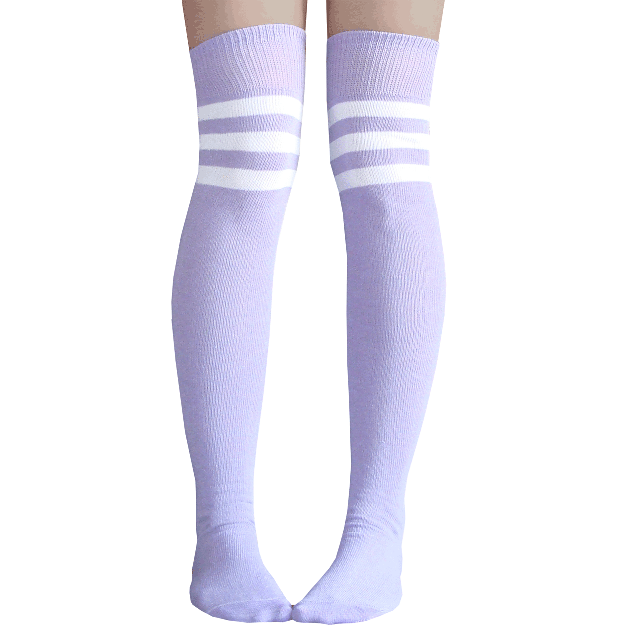 75fa9a236da Light Purple Athletic Striped Thigh Highs Socks.