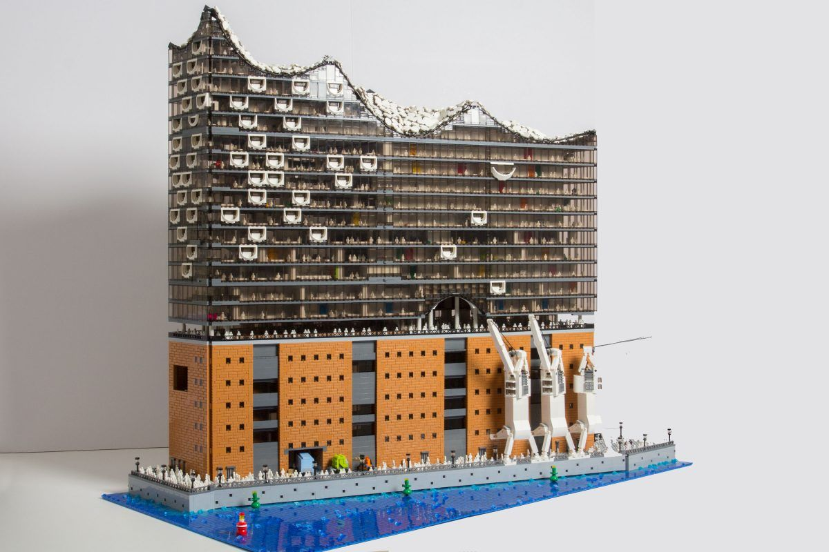 The New Hamburg Opera House Elbphilharmonie From Lego It Can Open Up In The Front To Reveal A Very Detailed View On The Lego Architecture Lego Lego Replica