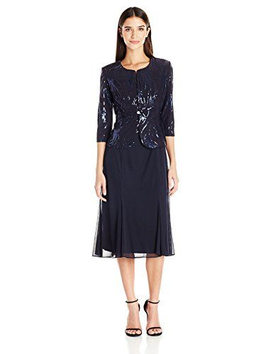 Petite and Regular Sizes Alex Evenings Womens Tea Length Mock Dress with Sequin Jacket