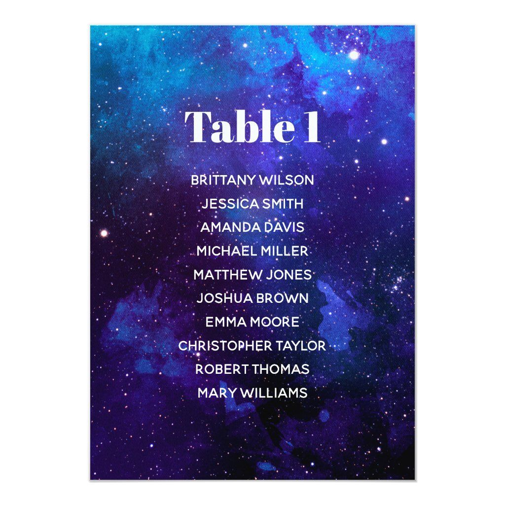 Space seating chart. Night stars. Navy wedding Invitation