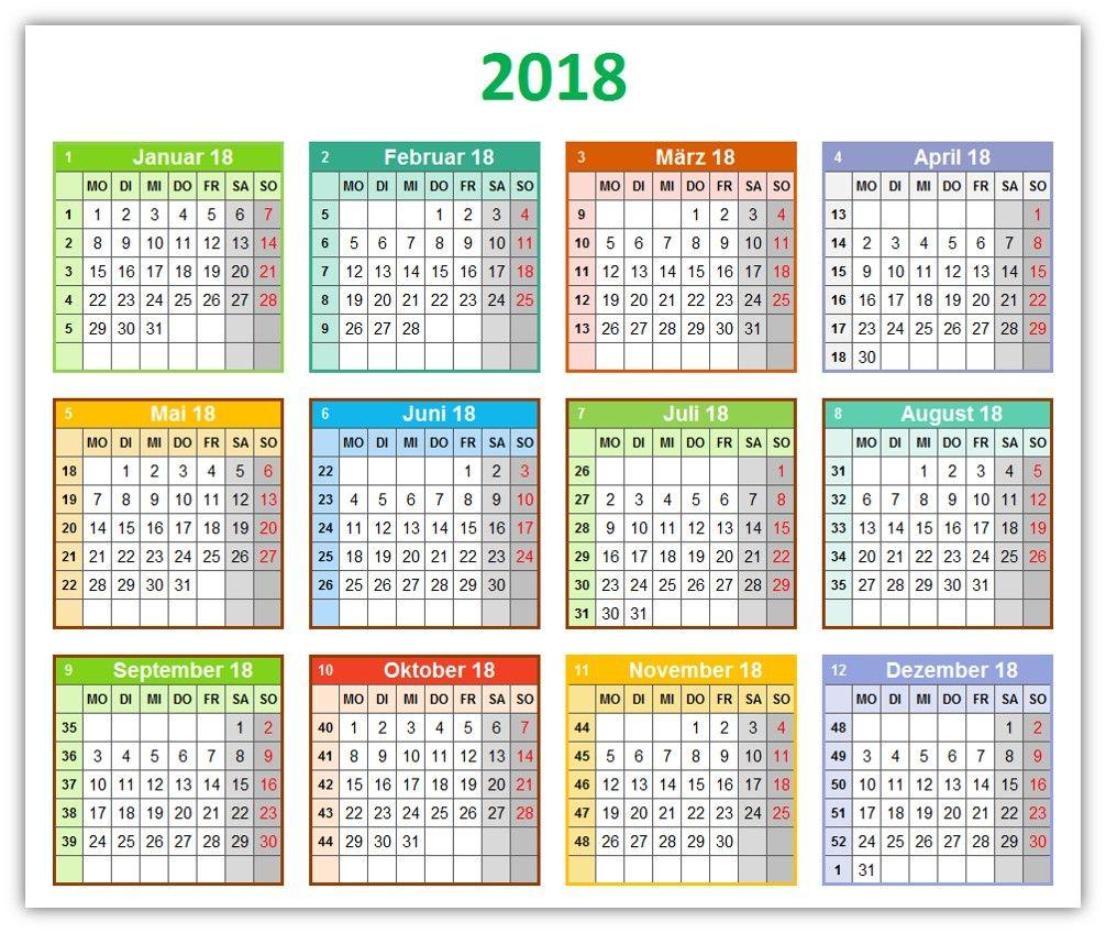 """Die Kalendervorlage """"bunter Jahreskalender mit Platz für Notizen ..."""