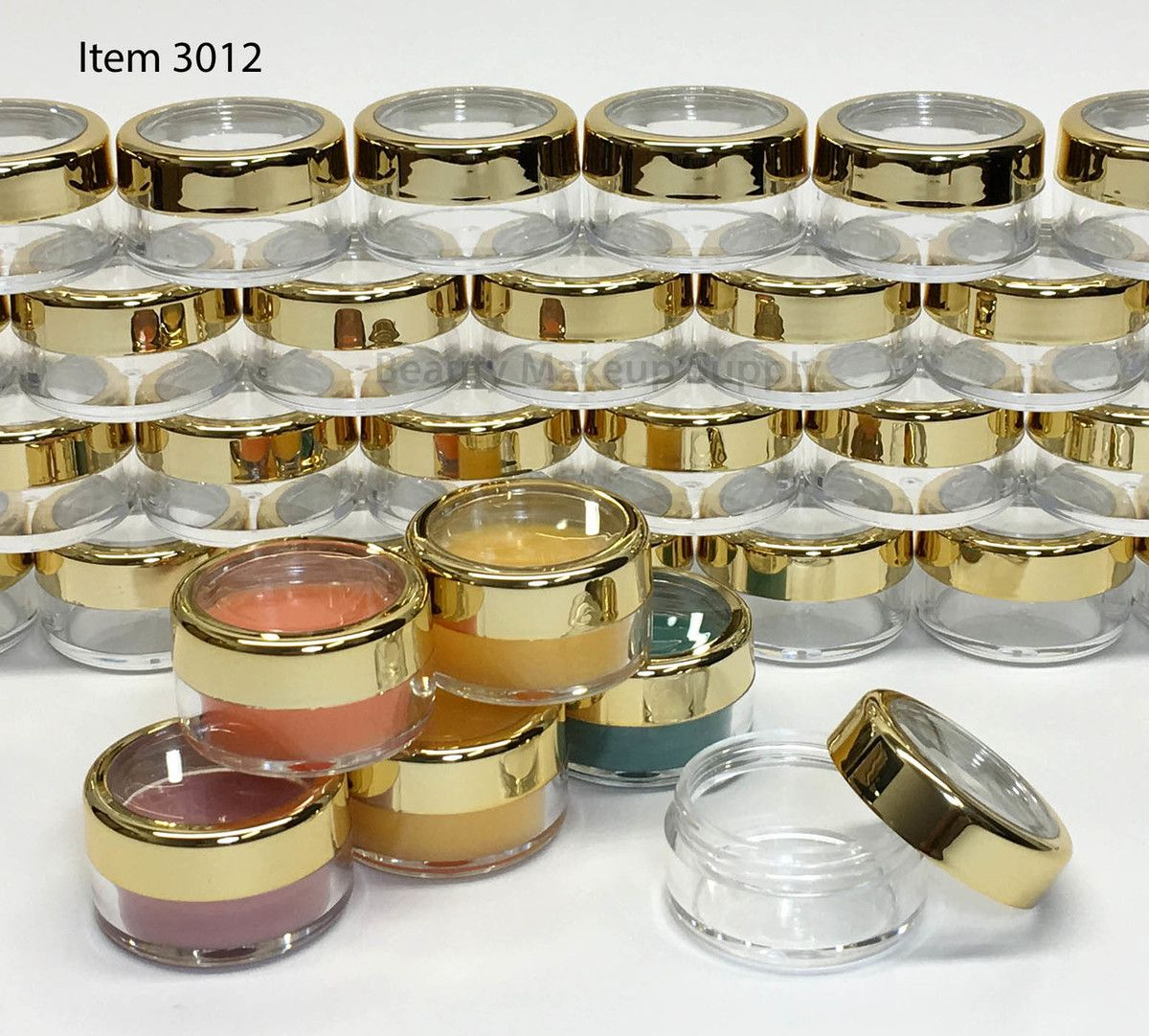 Cosmetic Jars Plastic Beauty Containers 10 Gram Gold Trim Acrylic Window Caps Sku Cosmetic Jars Cosmetic Containers Lip Balm Containers