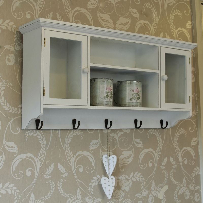 White Storage Shelf With Cupboard And Towel Key Hooks Wall Mountable Kitchen
