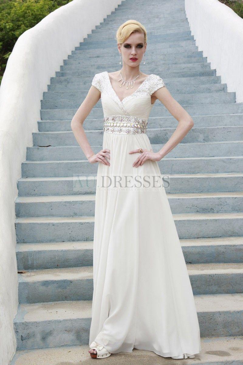 short sleeve satin modest beading evening gown - Evening dresses ...