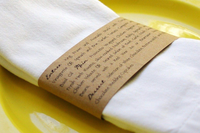 Kraft Napkin Ring Menus Handmade Custom Wedding Menu Napkin Holder