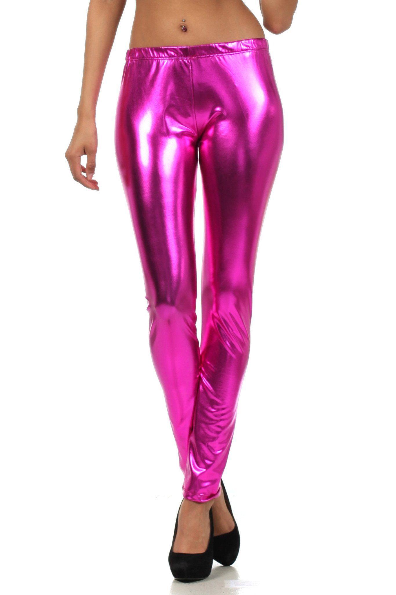 447252dff7723 Sakkas Footless Liquid Wet Look Shiny Metallic Stretch Leggings ...