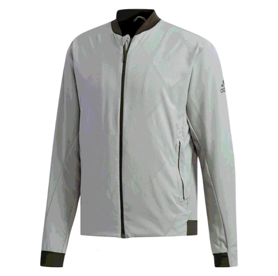 Walk Out To The Court In High Class Style With The Adidas Men S Barricade Tennis Jacket This Full Zipper Mens Tennis Clothing Adidas Men Gray Jacket