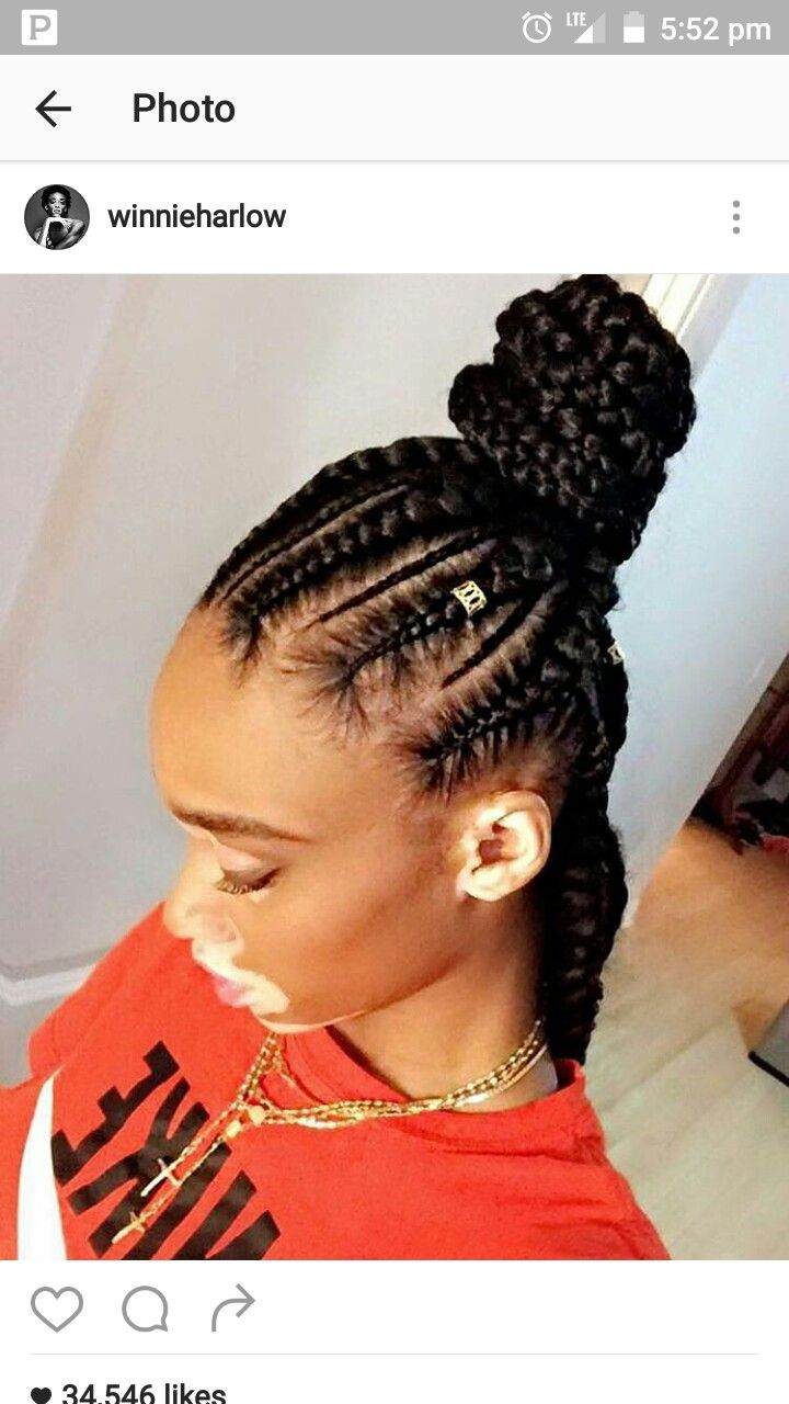Feed In Braids With Bun Cornrow Hairstyles Hair Styles Natural