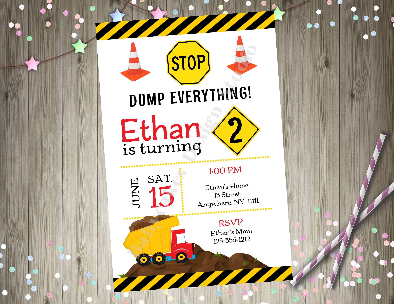 Dump truck Construction Birthday Party Invitation Invite Photo ...