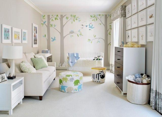 idee kinderzimmergestaltung farbe modern babyzimmer schablonen