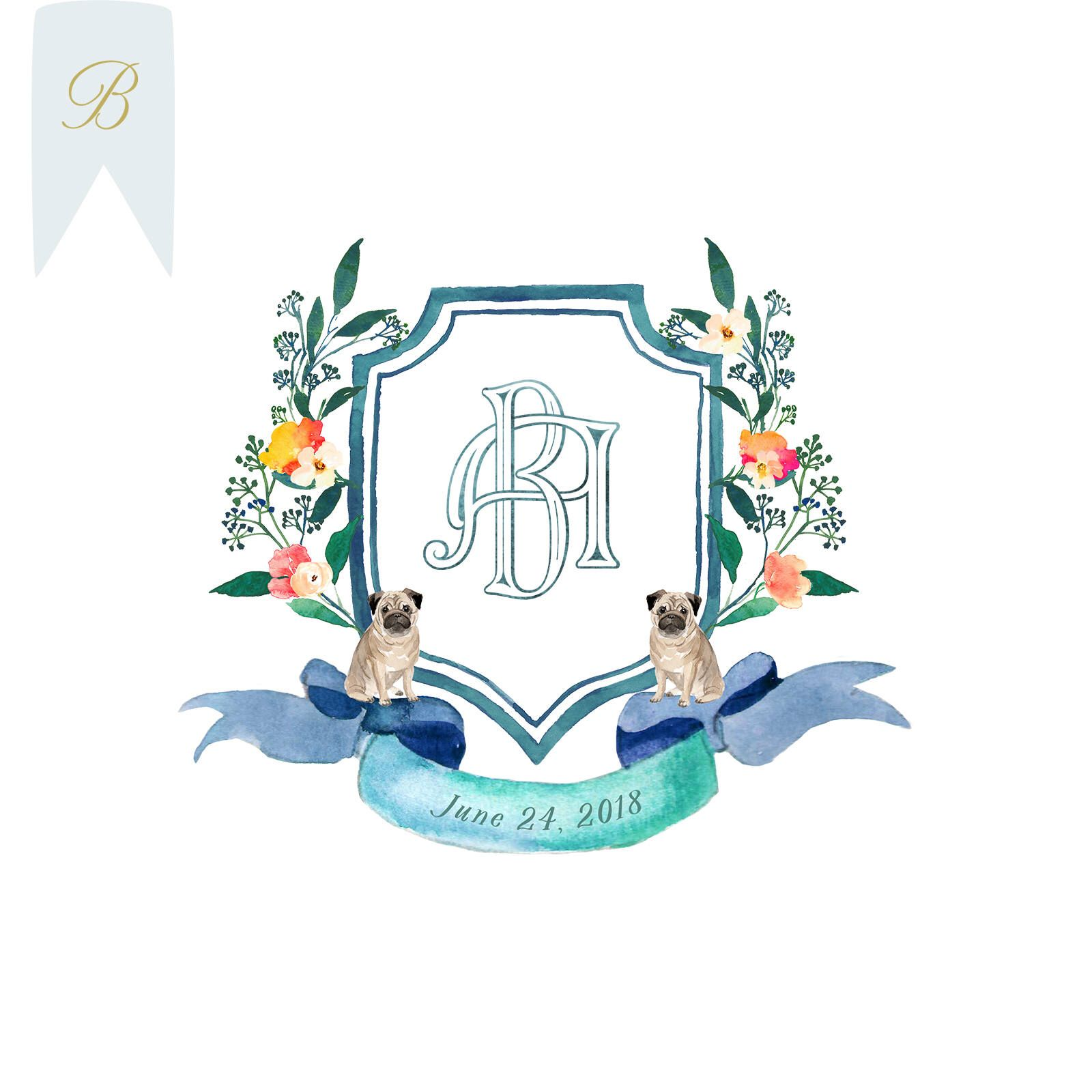 Bright Blue Watercolor Wedding Crest Monogram Logo Pug Pug
