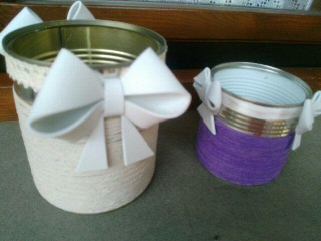 Vasetti in latta reciclati....