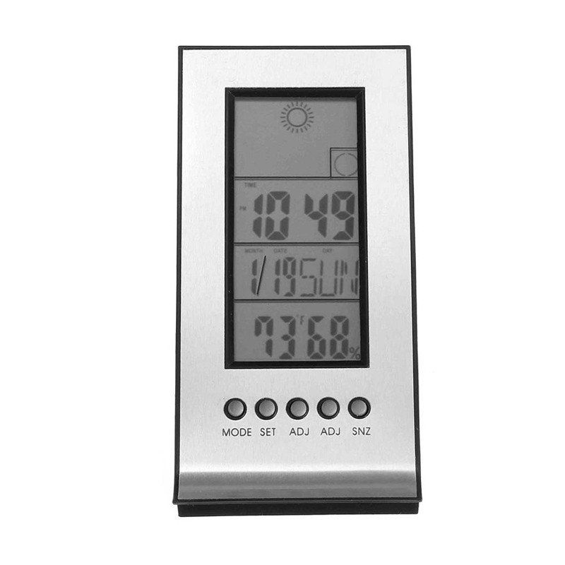 Indoor Outdoor Wireless Weather Thermometer Station Daily Clock Snooze Forecast Calendar