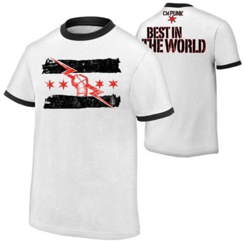 Cm Punk Best In The World Mens White Ringer T Shirt Cm