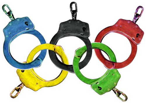 Olympic rings handcuffs - great graphic