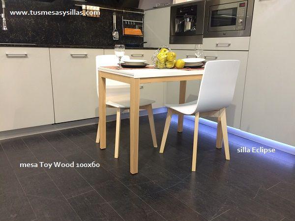 mesa cocina toy wood extensible en blanco y madera 100x60, 110x70 ...