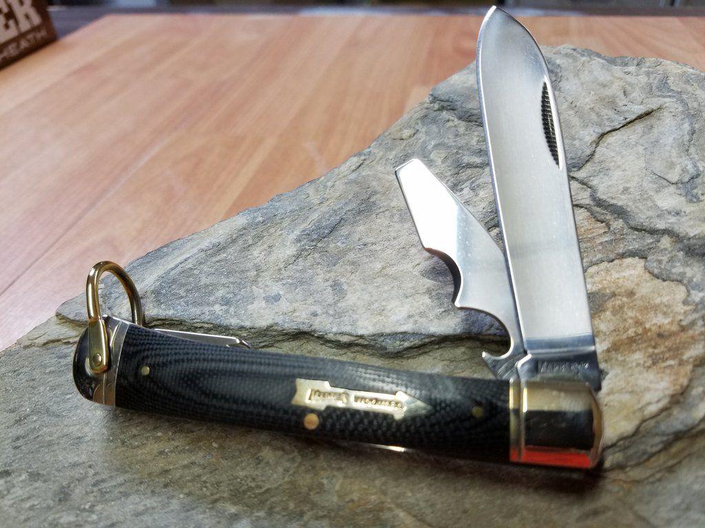Marbles Large Trapper Folding Black Pocket Knife Workman Series 265 Pocket Knife Marble Trapper