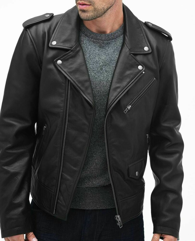 Mens Lambskin Leather Jackets Soft Black Biker Leather
