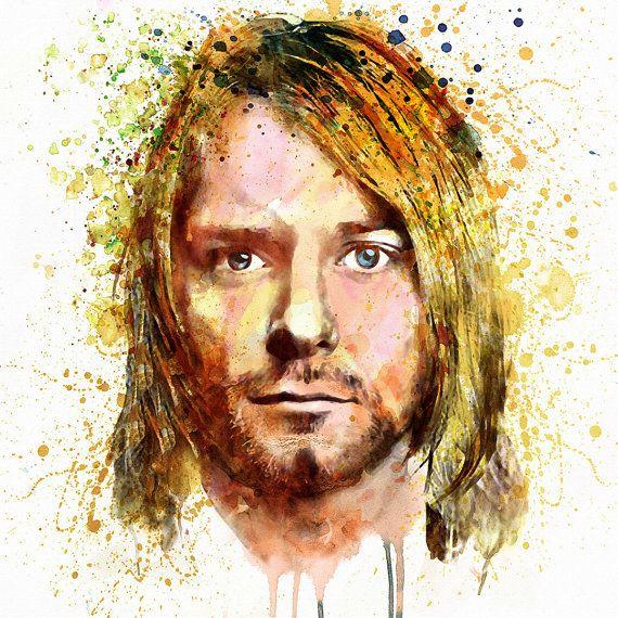 Kurt Cobain Watercolor portrait Nirvana Wall art by Artsyndrome ...