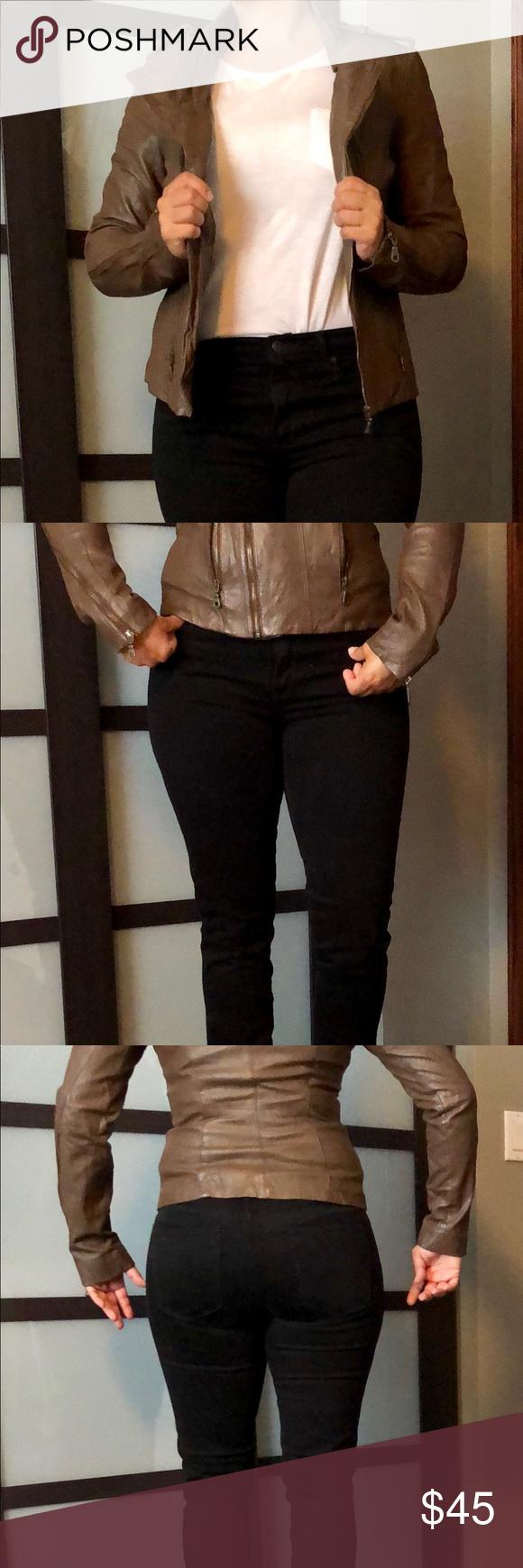 Moto Leather Jacket Baguda Brown Moto Jacket from