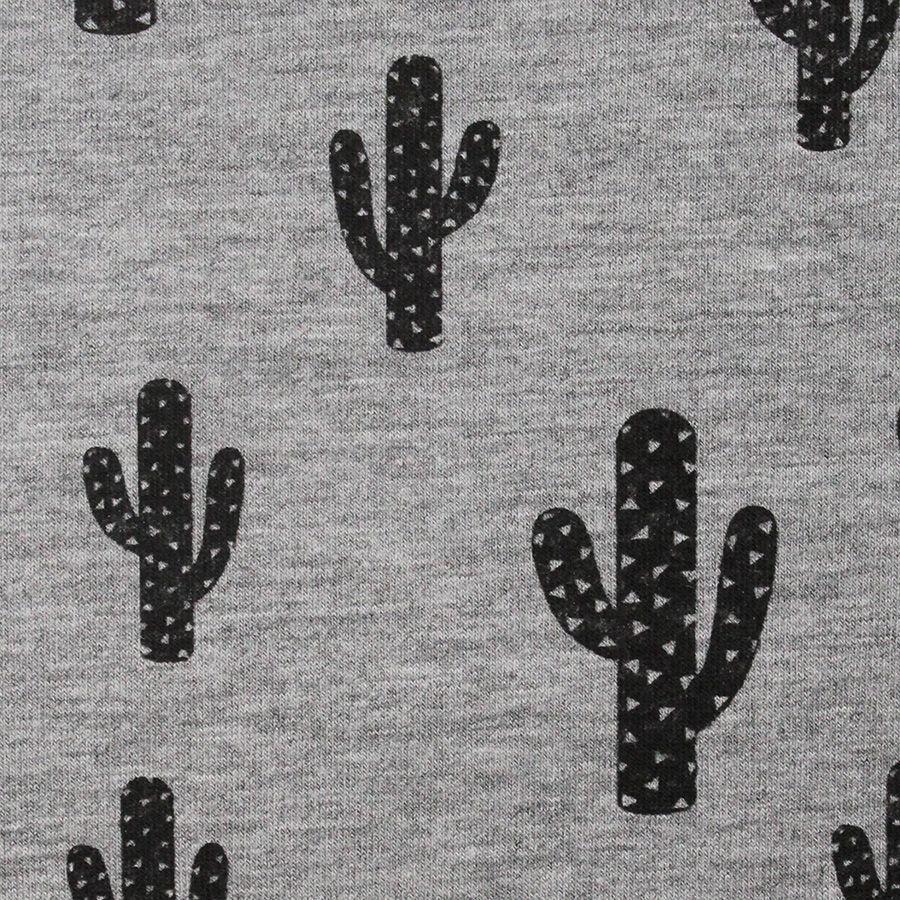Cactus, misto jersey di viscosa, grigio screziato tessuto di jersey con motivo cactus