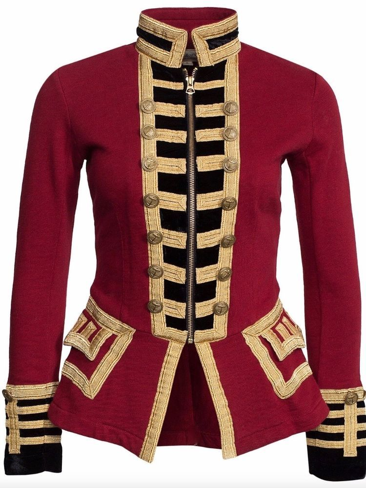 Details about Women Red Wool Military Jacket Army Commander