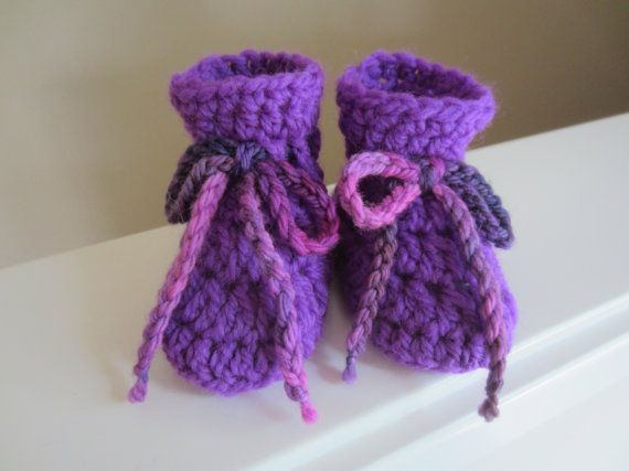 Baby Booties Crocheted Newborn Sizing Purple Wool with by TooCozy