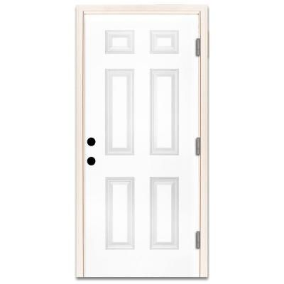 Steves Sons 30 In X 80 In Premium 6 Panel Primed White Steel Prehung Front Door With 30 In Left Hand Outswing And 4 In Wall White Primed Single Doors Exterior Doors Outswing Exterior Door