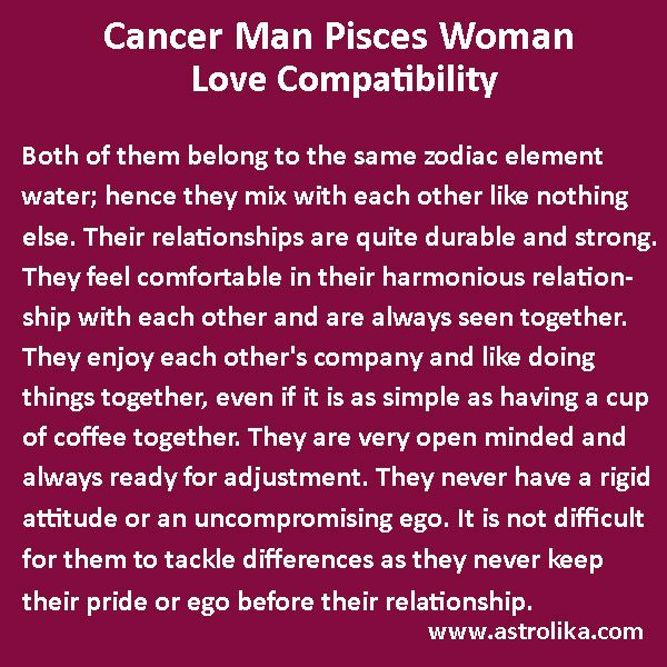 Pisces woman in love with a cancer man