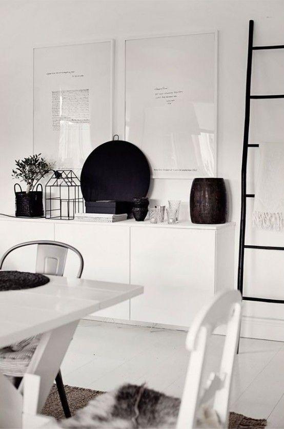 Hanging White IKEA Besta Unit Behind Kitchen Table Under Window