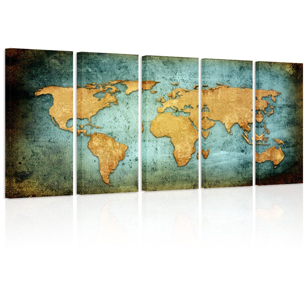 Visual Art Decor Retro World Map Poster Giclee Canvas Prints - Retro world map poster