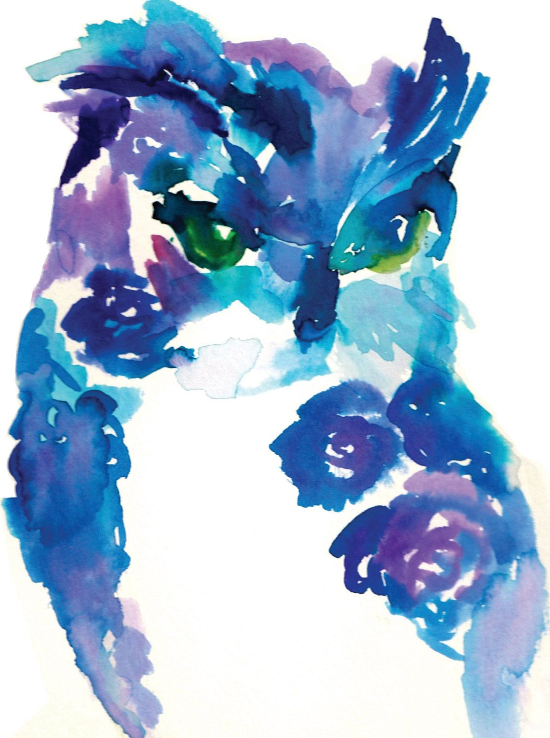 Print of Original Watercolor Painting, Titled: Blue Owl by ...