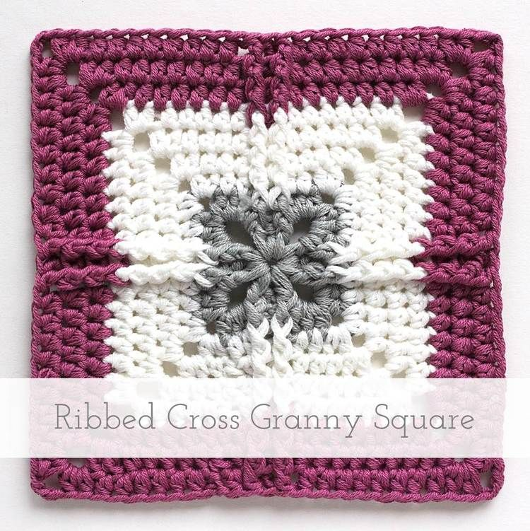 Ribbed Cross Granny Square Free Pattern Tutorial Crochet