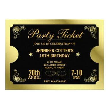 Ticket Style Adult Birthday Party Invitations Birthday invites