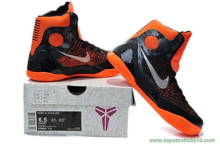 tenis de basket Masculino 636602-112 Laranja   Preto Nike Kobe IX Elite