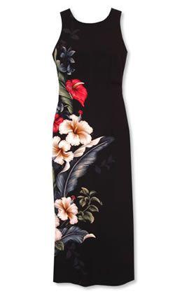 Sweetheart Long Tank Black Hawaiian Dress   Plus Size ...