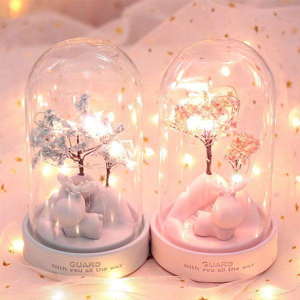 Deer &amp Sakura Glass Dome Lamp
