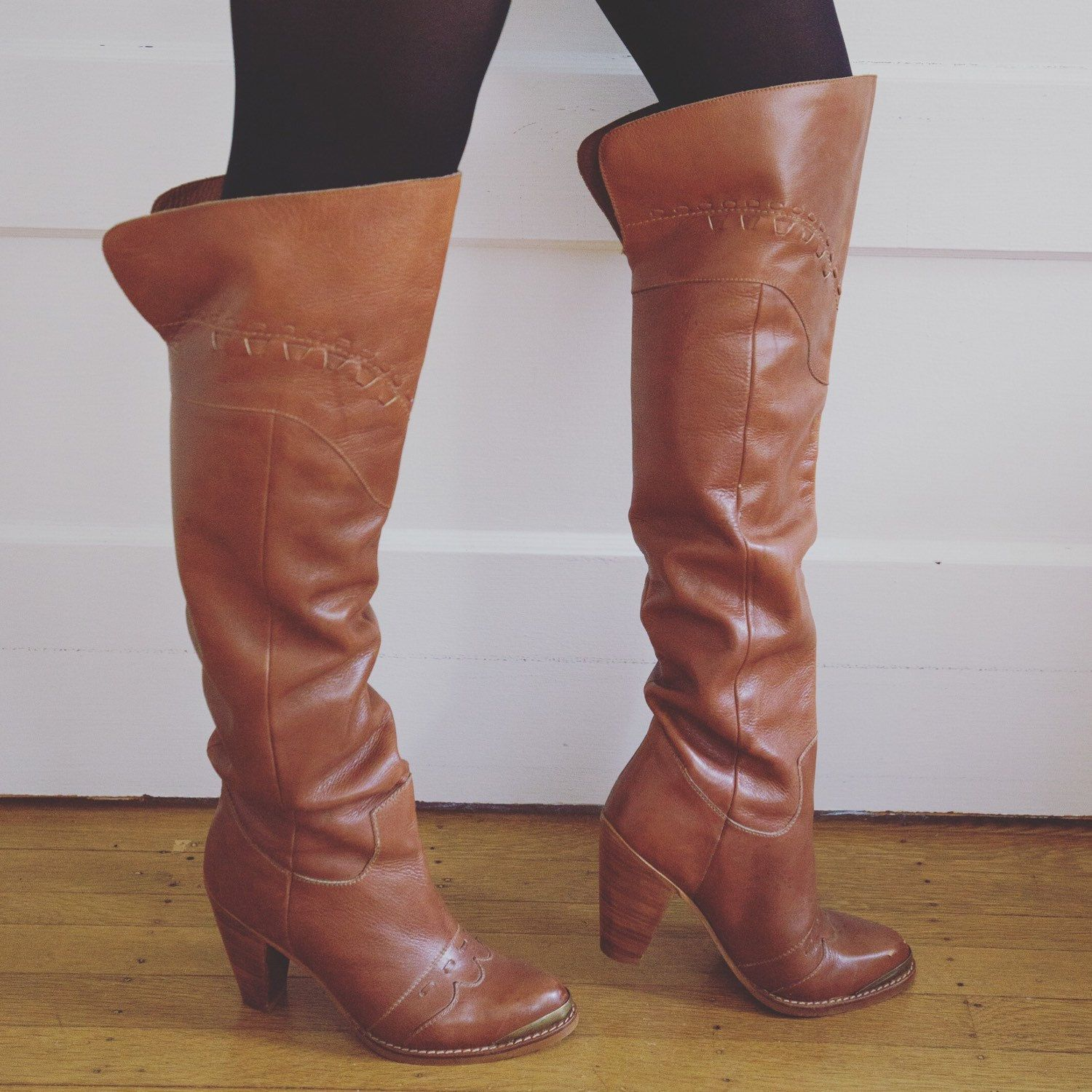 New amazing boots just added to etsy! Including these 70's Brazilian Leather Over The Knee Boots