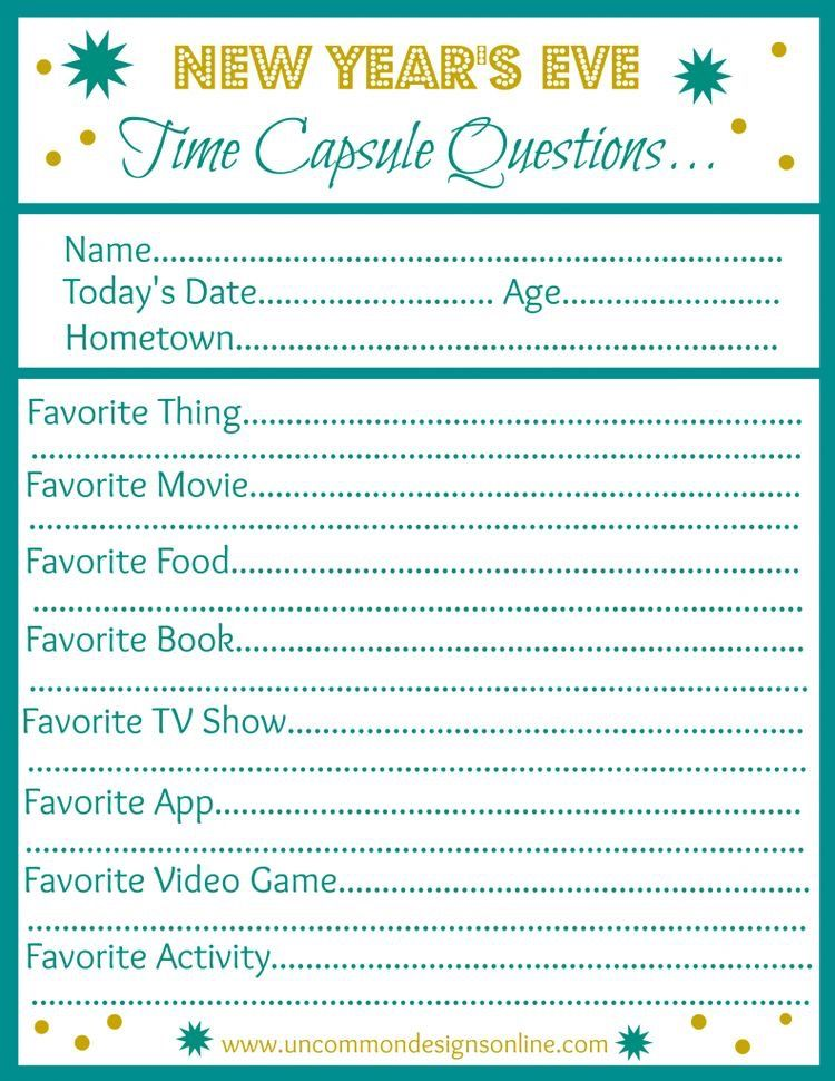 new years time capsule questions for kids Kids new years