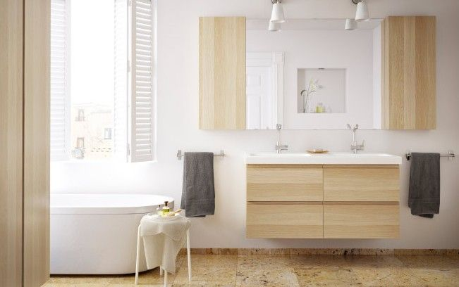 salle de bain ikea bois clair baignoire 7 maison. Black Bedroom Furniture Sets. Home Design Ideas