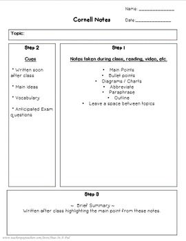 Cornell Notes Template  Cornell Notes Cornell Notes Template And