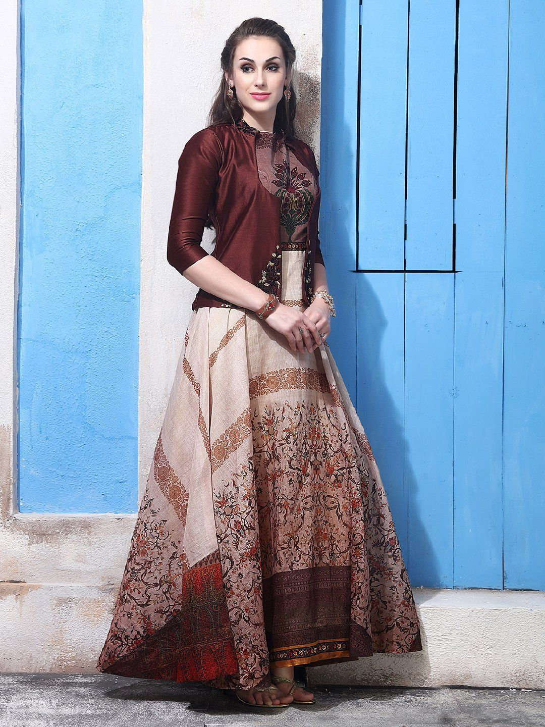 acfedee92d Shop Beige color cotton silk one piece suit online from G3fashion India.  Brand - G3, Product code - G3-WSS00370, Price - 7395, Color - Beige, ...