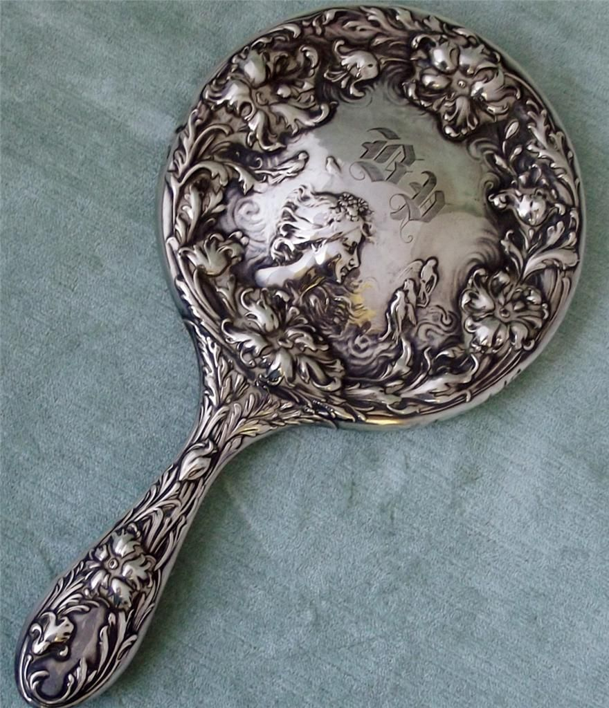 Foster Bailey F B Sterling Silver Hand Mirror Antique
