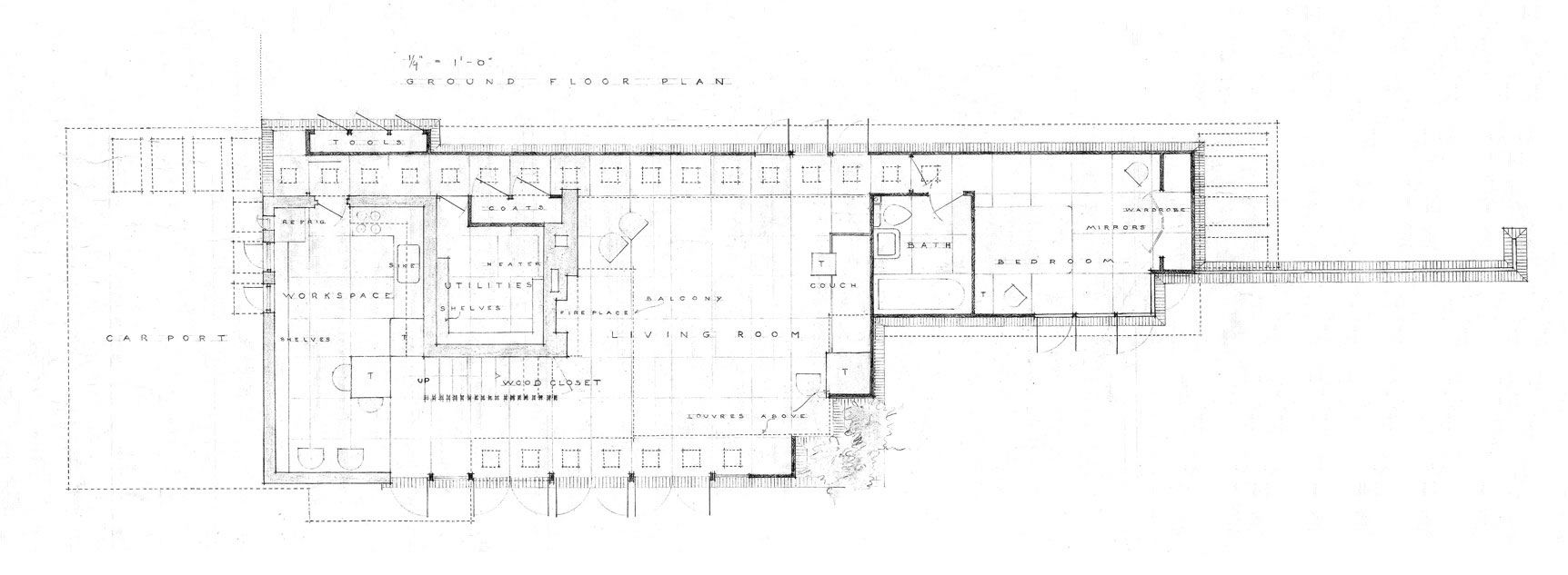Usonian style house plans for Frank lloyd wright usonian home plans