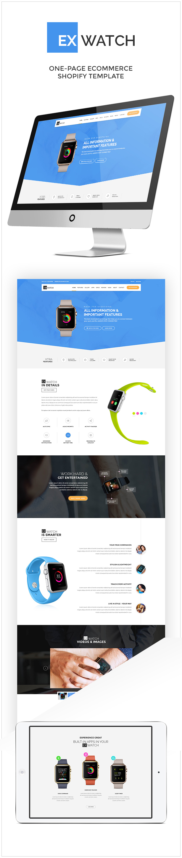 Ex Watch Single Product ECommerce Shopify Theme Pinterest - Single product ecommerce template
