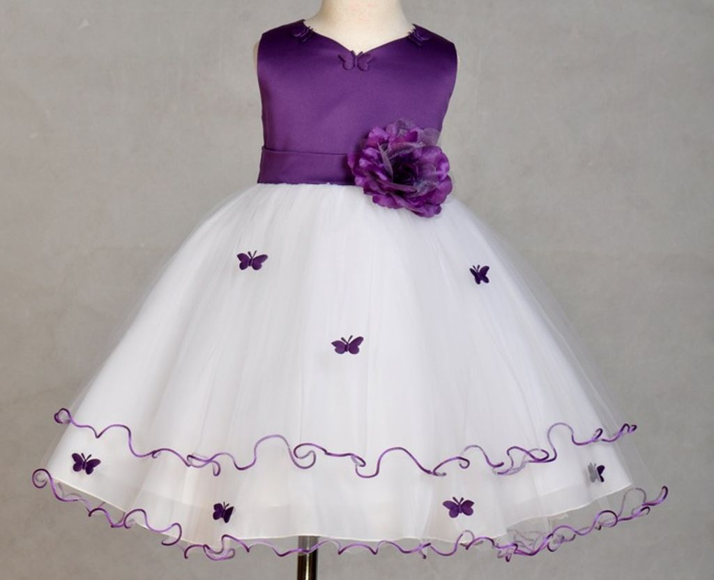 Flower girl dress butterfly white pink red ivory & more ...