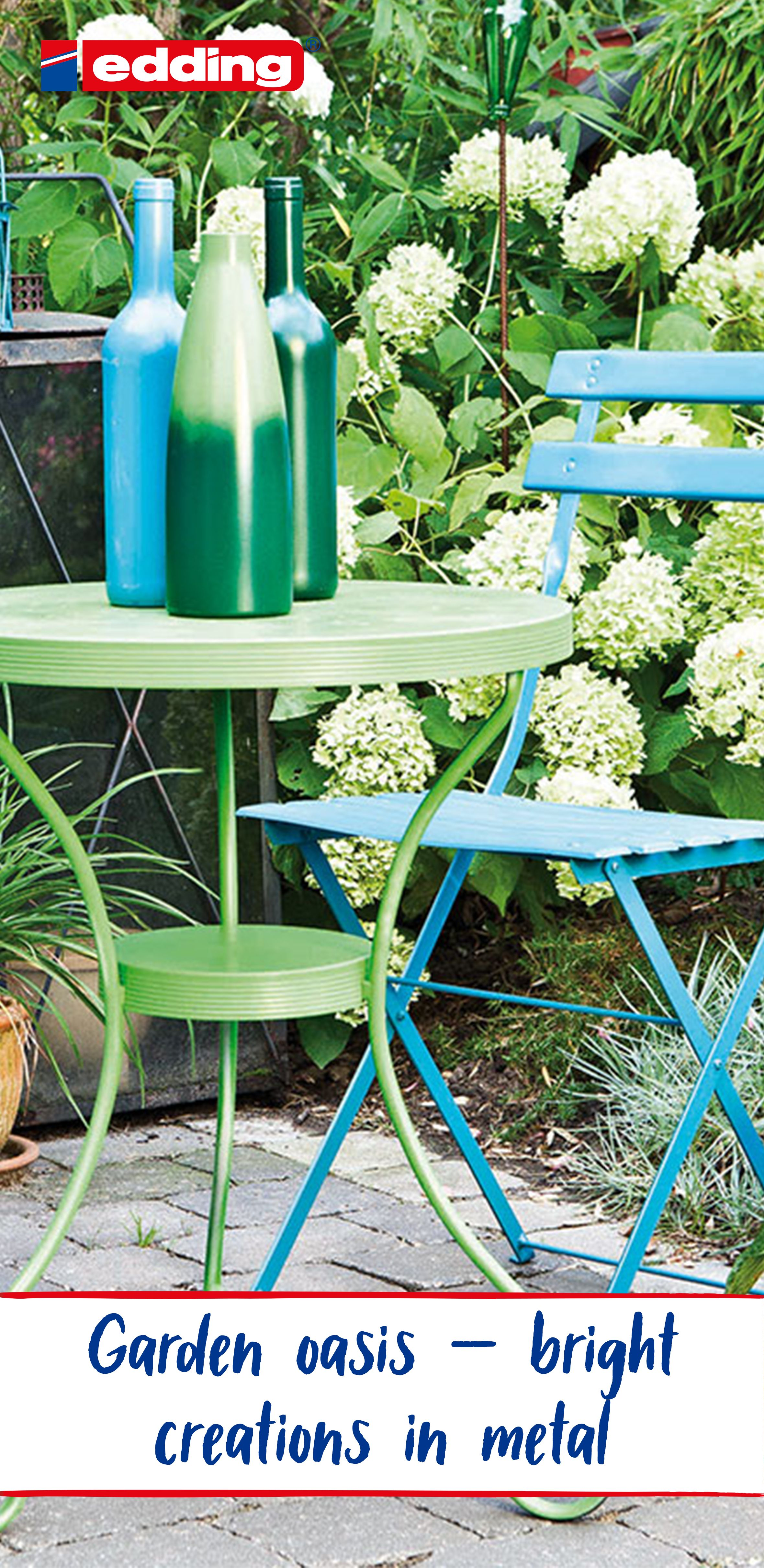 Garden Oasis Bright Creations In Metal Painted Garden Furniture Colorful Garden Garden Oasis