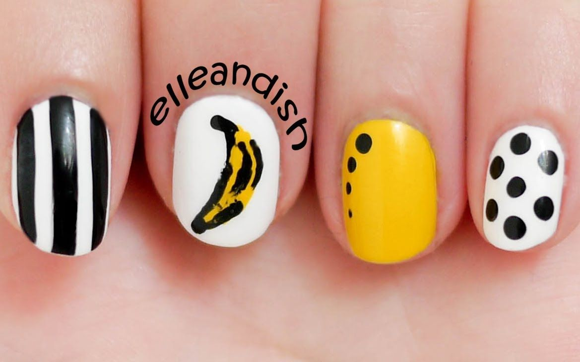 This is an EASY nail art look inspired by Andy Warhol\'s Banana ...