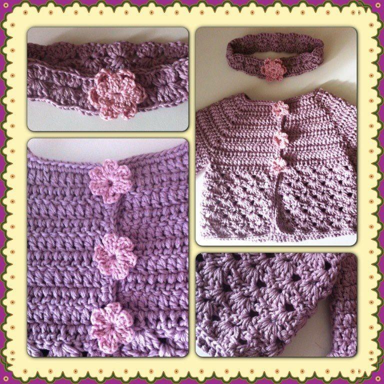 ensemble gilet et bandeau pour b b fille parme et rose tendre crochets. Black Bedroom Furniture Sets. Home Design Ideas